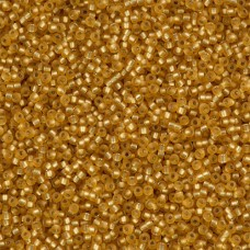 Matte Silver Lined Dark Gold, Miyuki 11/0 Seed Beads, Approx 22g, Colour 0004FV