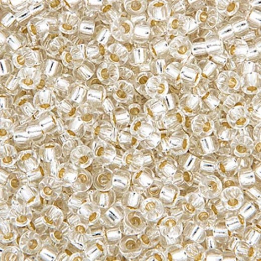 Miyuki Size 11 Seed Beads, Crystal Silver Lined, Colour 0001, Approx. 22g