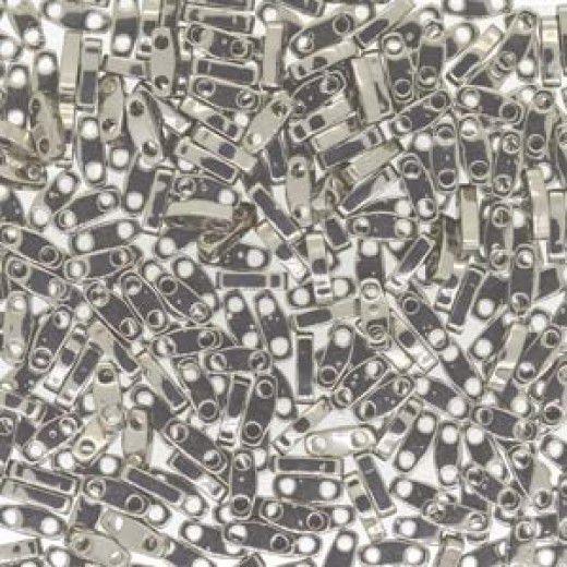 Bulk Bag Nickel Plated Quarter Tila Bead, colour 190, 50g approx.