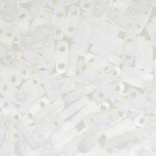 White Opaque Matte Quarter Tila Bead, colour 402F, 5.2g approx.