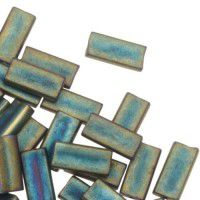 Miyuki Rectangle Beads, 4x7mm, Metallic Patina Iris Matte - 2008, Approx 17 Grams