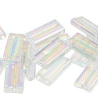 Miyuki Rectangle Beads, 4x7mm, Clear Transparent Rainbow - 250, Approx 17 Grams