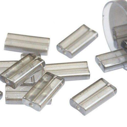 Miyuki Rectangle Beads, 4x7mm, Grey Luster - 368, Approx 17 Grams