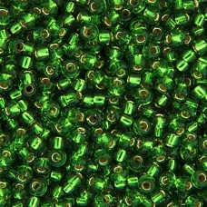 Miyuki Size 6 Seed Beads, Matte Green Silver Lined, Colour 0016F, 20g Approx