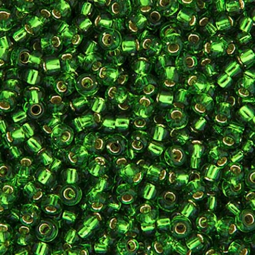 Matte Green Silver Lined Miyuki 6/0 Seed Beads, approx. 20g approx., Colour 0016F