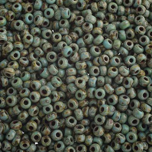 Opaque Turquoise Blue Picasso Miyuki 6/0 Seed Beads, 250g, Colour 4514