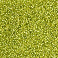 Miyuki Size 11 Seed Beads, Silver Lined Chartreuse, Colour 1014, 22g Approx.