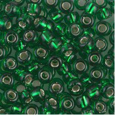 Green Transparent Silver  Lined 6/0 Seed Beads, 22g, Colour 0146S