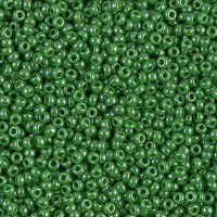Miyuki Size 11 Seed Beads, Green Opaque Luster, Colour 0431, 22g Approx.