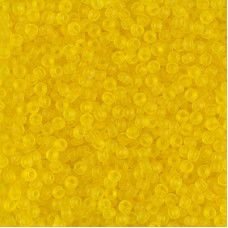 Transparent yellow matte Miyuki 11/0 seed beads, Colour 0136F,  22g approx.