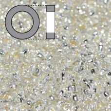 Crystal Silver Lined Miyuki 2.2mm Spacer Beads, colour 001, approx 9.5g