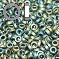 Matted Metallic Patina Iris Miyuki 2.2mm Spacer Beads, colour 2008, approx 9.5g