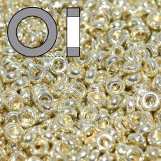 Duracoat Galvanised Silver Miyuki 2.2mm Spacer Beads, colour 4201, approx 9.5g