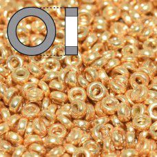 Duracoat Galvanised Gold Miyuki 2.2mm Spacer Beads, colour 4202, approx 9.5g
