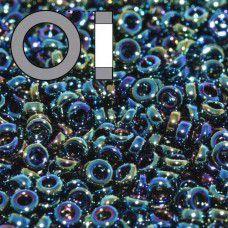 Metallic Variegated Iris Miyuki 2.2mm Spacer Beads, colour 0455, approx 9.5g