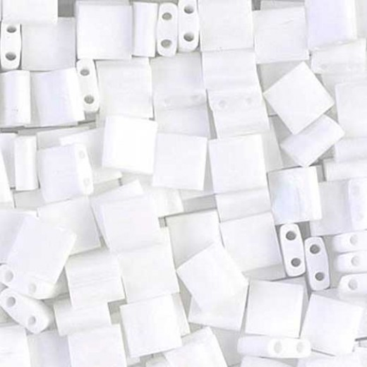 Tila Beads White Opaque Matted AB 0402FR, 5.2g bag