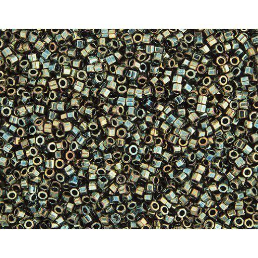 Metallic Green AB size 15/0 Cut Delica, Colour code 0024 Approx. 5.2g