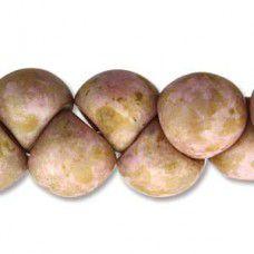 Matte White Travertine Red Mushroom Bead 9x8mm - 30 beads