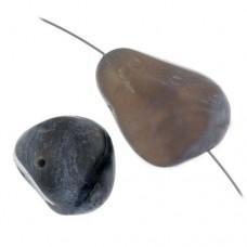 Botswana Agate Nugget, Black, Approximately 16 x 22mm