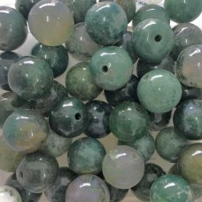 12mm Semi Precious Mixed Green Beads, Pack of 5