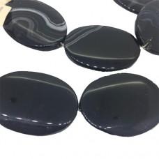 Large Black Agate Stone, 26 x 36mm