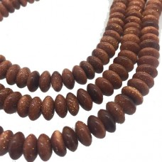"""4 x 8mm Semi Precious Goldstone Rondelle Beads, 16"""" Strand"""