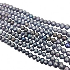 "4.5 - 5mm Semi Precious Dyed Grey Freshwater Pearls, 16"" Strand"