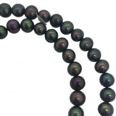 """4.5 - 5mm Semi Precious Dyed Peacock Freshwater Pearls, 16"""" Strand"""