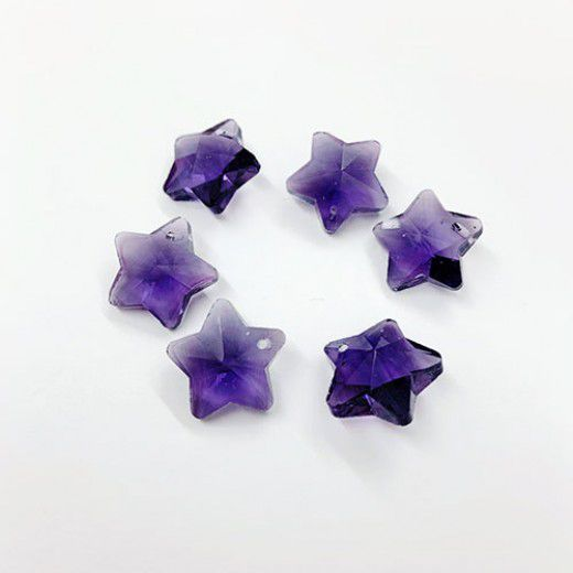 12mm Crystal Amethyst Star, Pack of 3