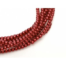 Christmas Red  Shiny 2mm Glass Pearls, Approx 150 Beads