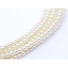 Antique Cream Shiny 2mm Glass Pearls, Approx 150 Beads