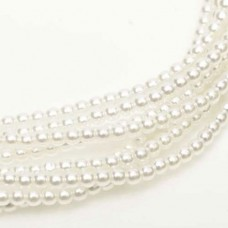 Bright White Colour 3mm Glass Pearls, Pack of 150