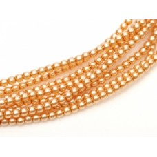 "8mm Czech Glass Pearls in Soft Apricot., 10"" strand, 25 Beads."