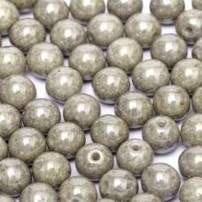 Chalk White Grey Luster 6mm Beads, 20 Pcs