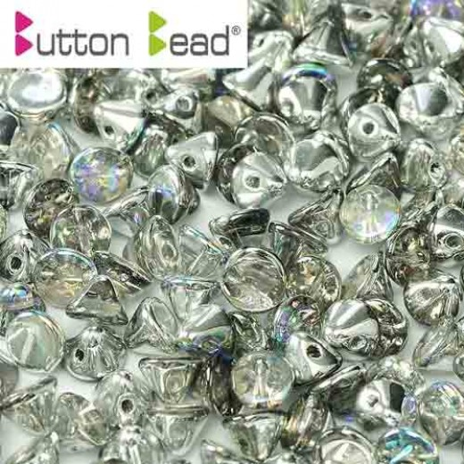 Bulk Bag Crystal Silver Rainbow 4mm Button beads - pack of 300