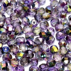 Magic Purple 4mm Firepolished beads, 120pcs approx.