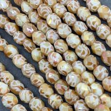 Masked Apricot 4mm Firepolished, 10 Beads