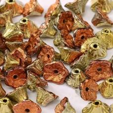 Bulk Bag Jet California Gold Rush 5x7mm Flower Cup Beads, approx. 600