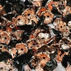 Bulk Bag Jet Capri Gold 5x7mm Flower Cup Beads, approx. 600