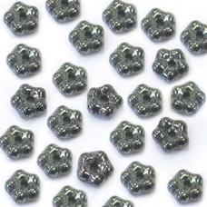 Hematite 5mm Czech Glass Flower Spacer Bead, 40pcs