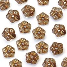 Lumi Brown 5mm Czech Glass Flower Spacer Bead, 40pcs