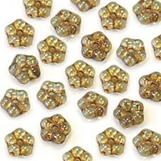 Lumi Green 5mm Czech Glass Flower Spacer Bead, 40pcs
