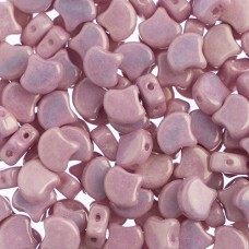 White/Metallic Pink Ginkgo Beads,  34 beads approx.