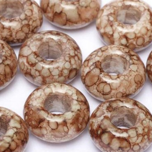Large Hole Rings, 9 x 14mm, Alabaster Dark Chocolate Marble, Pack of 5