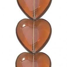 16 x 15mm Pressed Czech Glass Hearts, Smoke Topaz, 12 Beads