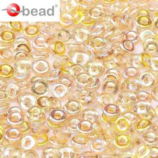 Bulk Bag Crystal Lemon Rainbow O Beads 1 x 3.8mm, 50gm