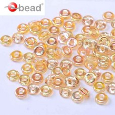 Crystal Yellow Rainbow O Beads 1 x 3.8mm pack of approx. 6gm