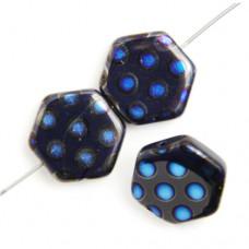 Hexagon Peacock Beads, Dark Blue Azuro, Strand of 12
