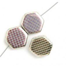 Hexagon Peacock Beads, White Vitrail Medium, Strand of 12