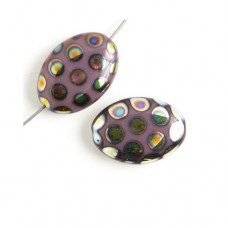 Peacock Beads Flat 20mm x 14mm oval bead, Violet Vitrial Medium